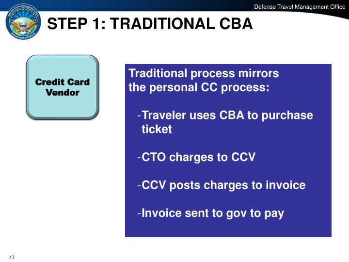 STEP 1: TRADITIONAL CBA