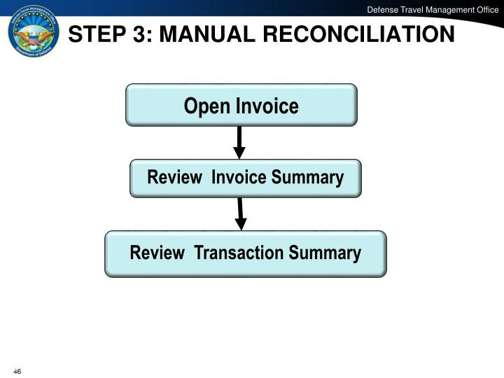 STEP 3: MANUAL RECONCILIATION