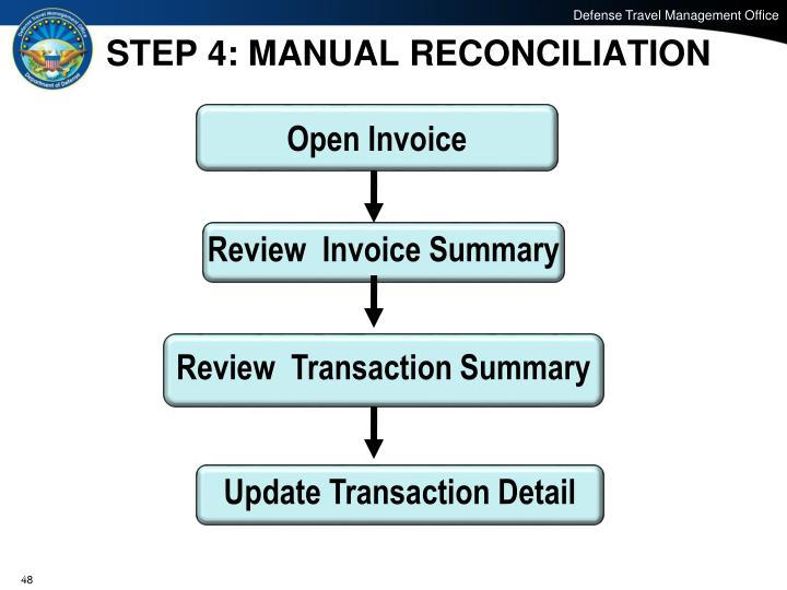 STEP 4: MANUAL RECONCILIATION