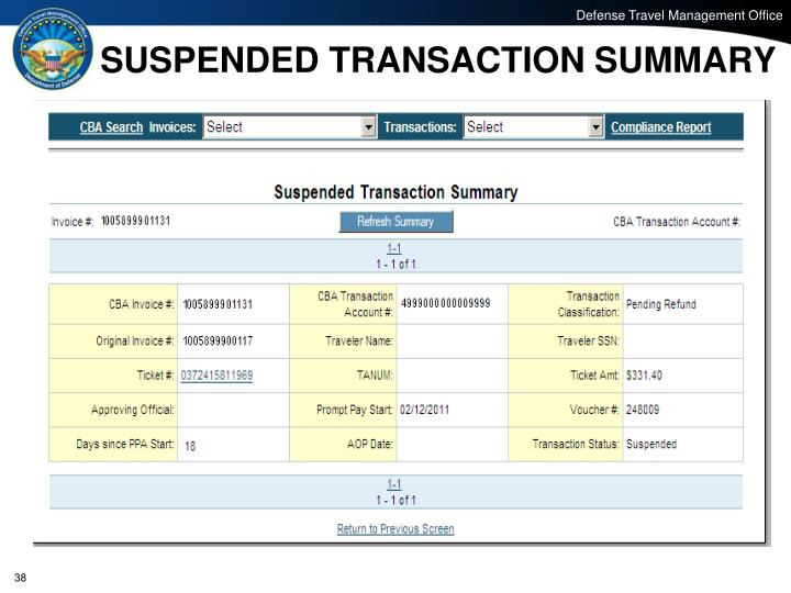 SUSPENDED TRANSACTION SUMMARY