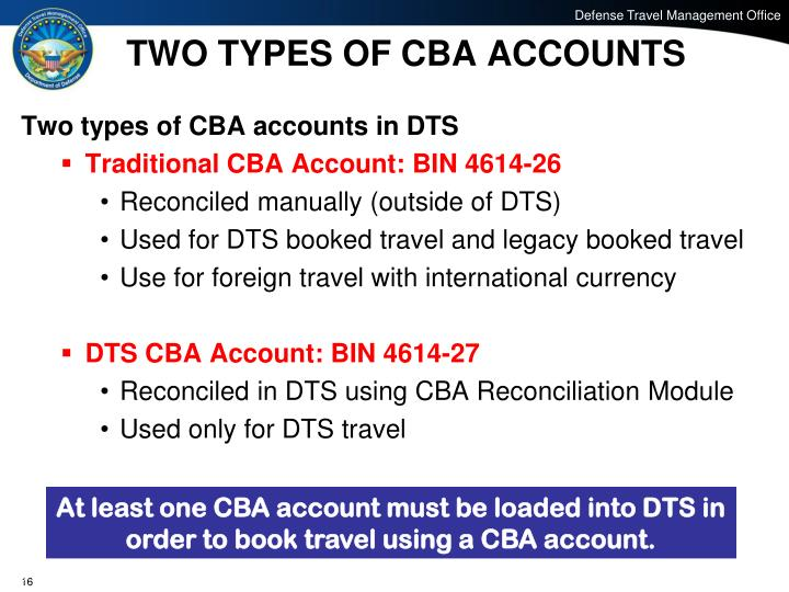 TWO TYPES OF CBA ACCOUNTS