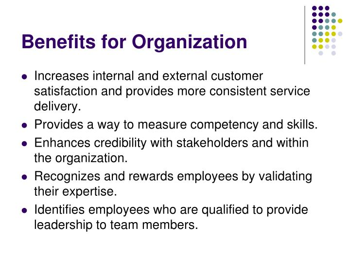 Benefits for Organization