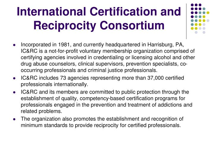 International Certification and Reciprocity Consortium