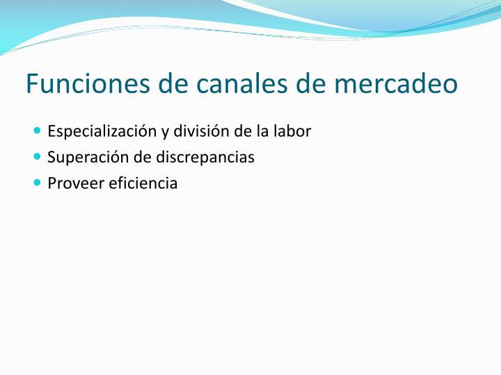Funciones de canales de mercadeo