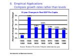 6 empirical applications compare growth rates rather than levels