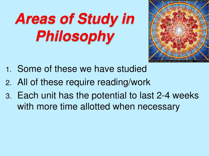 Areas of study in philosophy