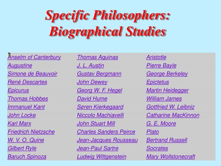 Specific Philosophers