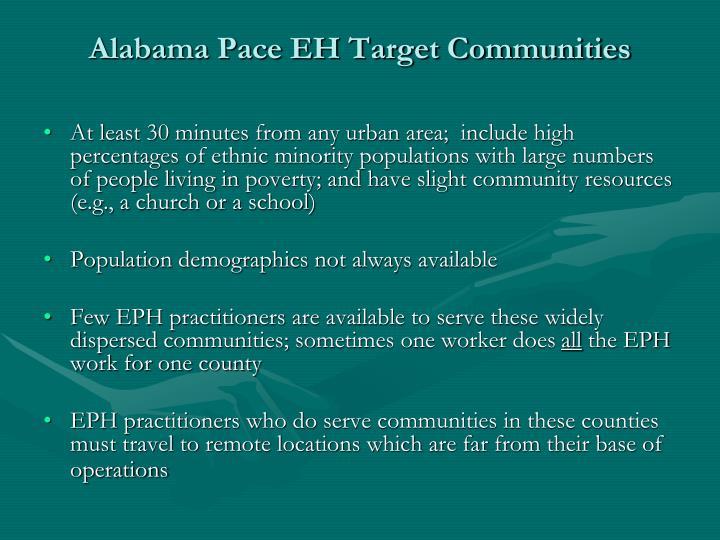 Alabama Pace EH Target Communities