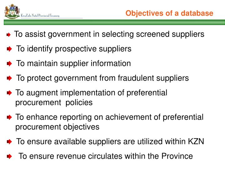 Objectives of a database