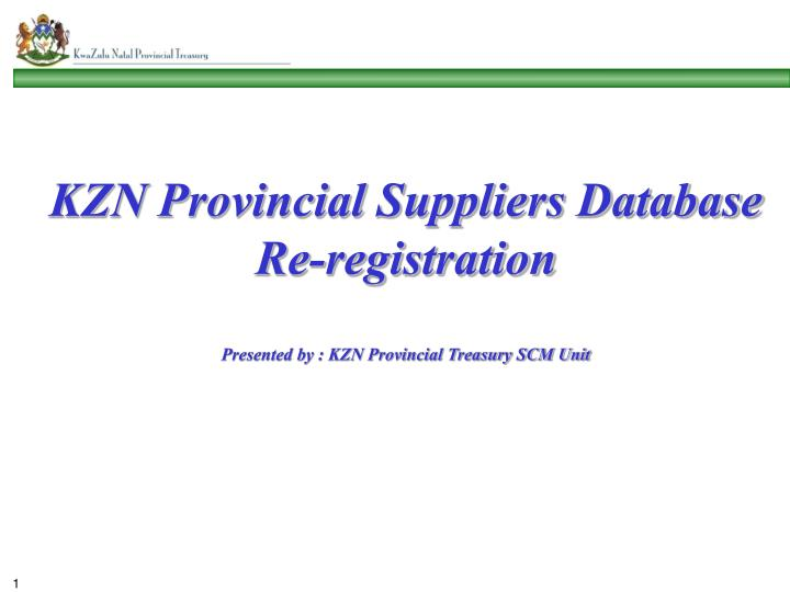 KZN Provincial Suppliers Database Re-registration