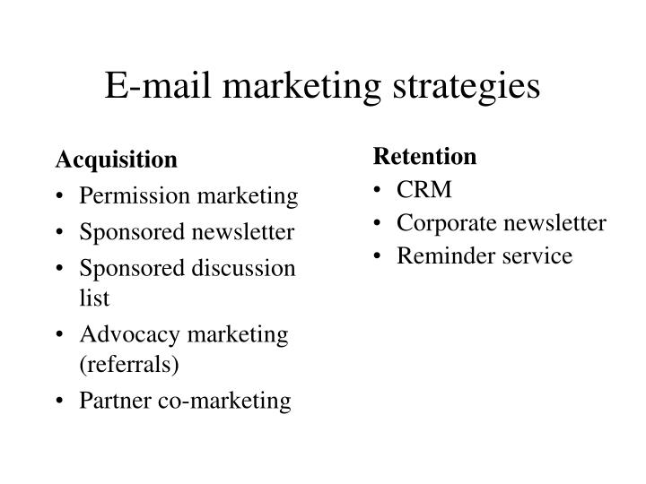 E-mail marketing strategies