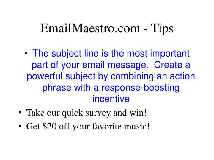 EmailMaestro.com - Tips