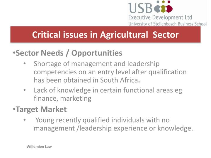 Critical issues in Agricultural  Sector