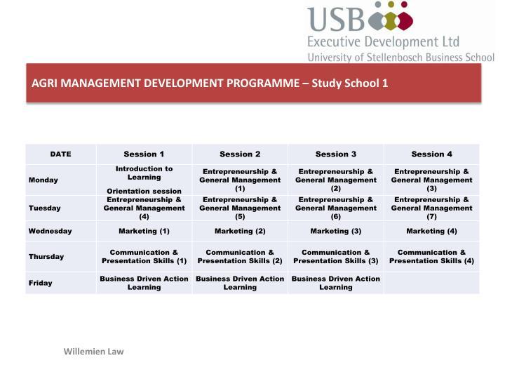 AGRI MANAGEMENT DEVELOPMENT PROGRAMME – Study School 1