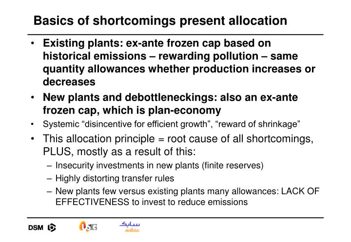 Basics of shortcomings present allocation