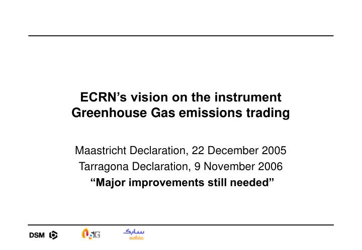 Ecrn s vision on the instrument greenhouse gas emissions trading