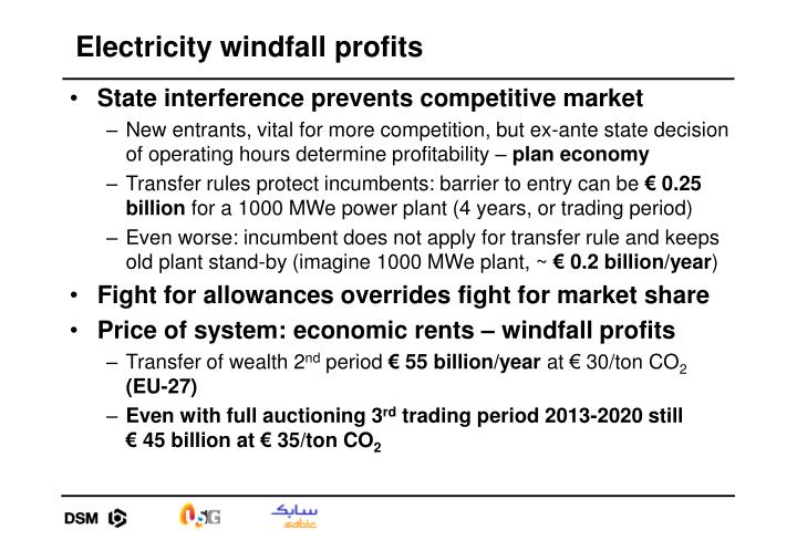 Electricity windfall profits