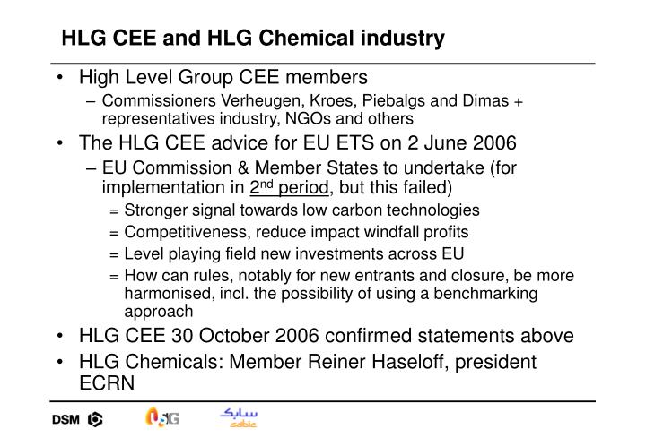 HLG CEE and HLG Chemical industry