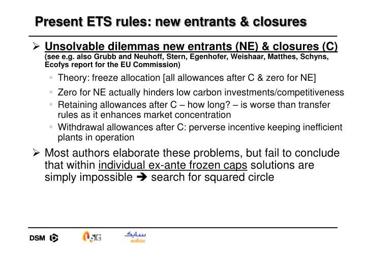 Present ETS rules: new entrants & closures