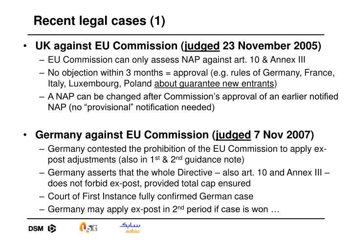Recent legal cases (1)