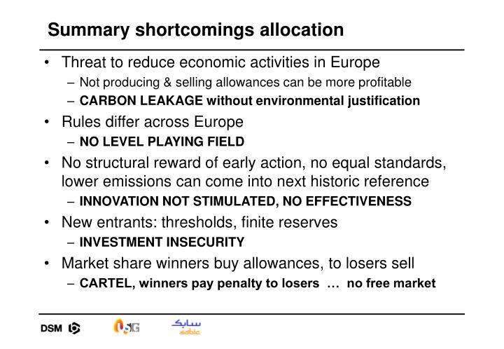 Summary shortcomings allocation
