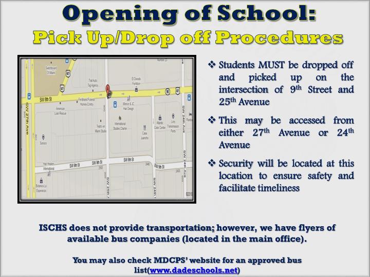Opening of School: