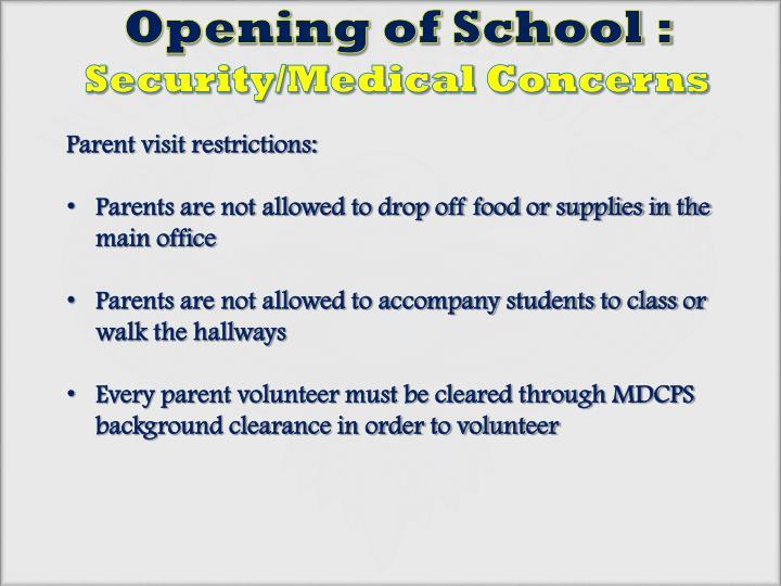 Opening of School :
