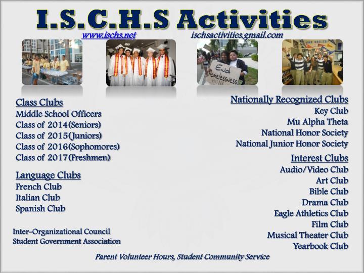 I.S.C.H.S Activities