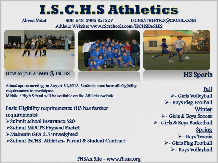 I.S.C.H.S Athletics