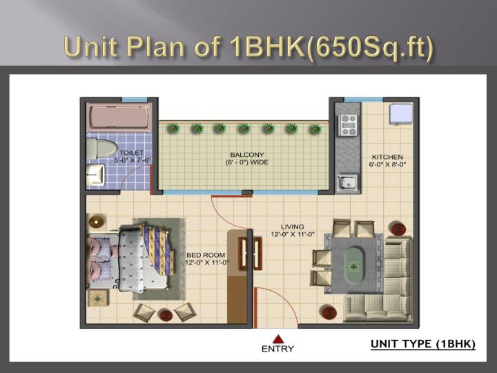 Unit Plan of 1BHK(650Sq.ft)