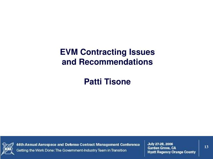 EVM Contracting Issues