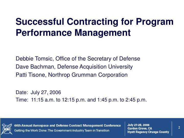 Successful Contracting for Program Performance Management