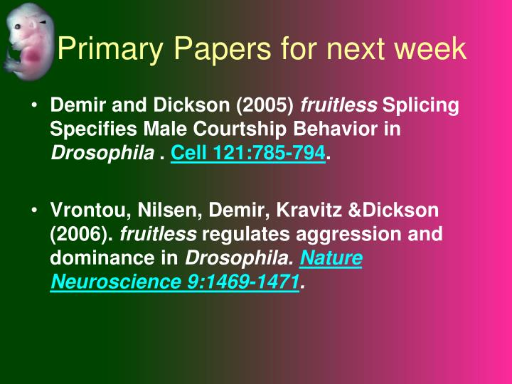 Primary papers for next week