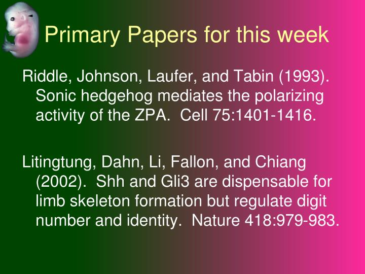 Primary papers for this week
