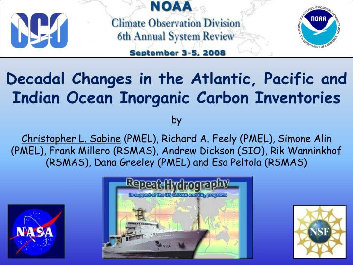 Decadal Changes in the Atlantic, Pacific and Indian Ocean Inorganic Carbon Inventories