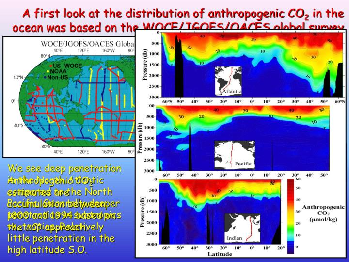 A first look at the distribution of anthropogenic CO