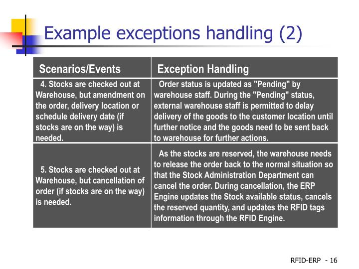 Example exceptions handling (2)