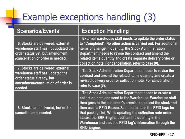 Example exceptions handling (3)