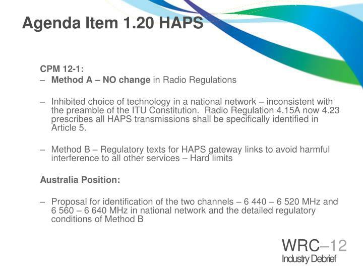 Agenda Item 1.20 HAPS