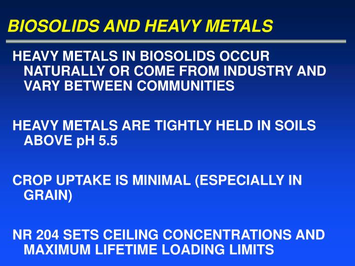 BIOSOLIDS AND HEAVY METALS