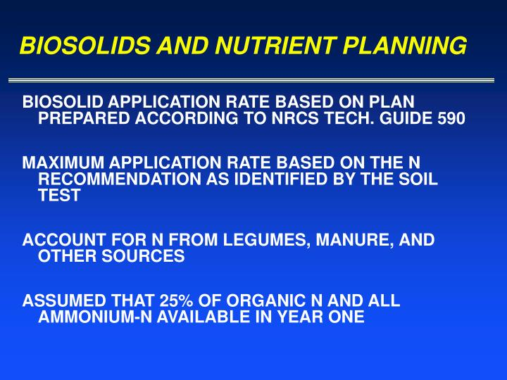BIOSOLIDS AND NUTRIENT PLANNING