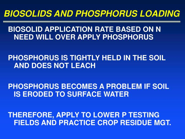 BIOSOLIDS AND PHOSPHORUS LOADING