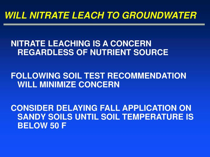 WILL NITRATE LEACH TO GROUNDWATER