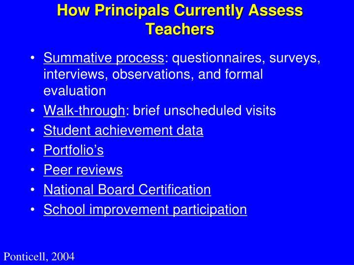 How Principals Currently Assess Teachers