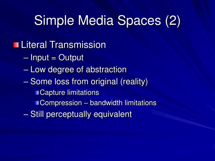 Simple Media Spaces (2)