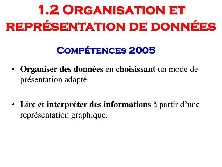 1.2 Organisation et représentation de données