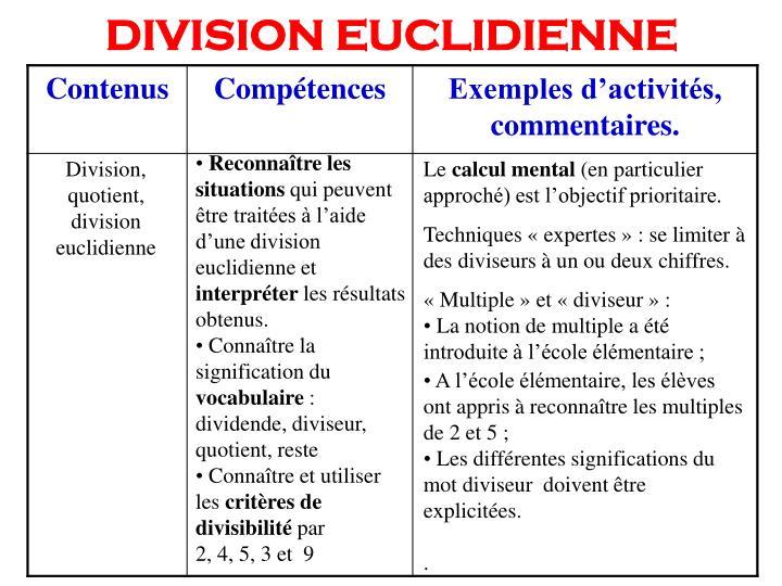 DIVISION EUCLIDIENNE