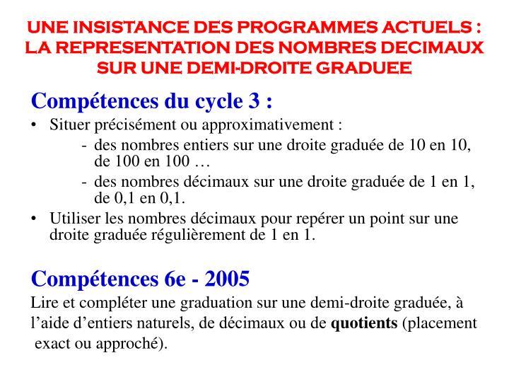 UNE INSISTANCE DES PROGRAMMES ACTUELS :