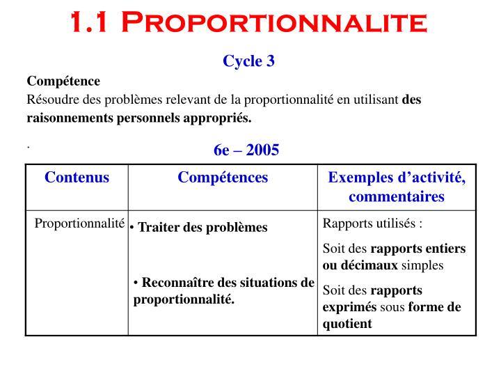 1.1 Proportionnalite