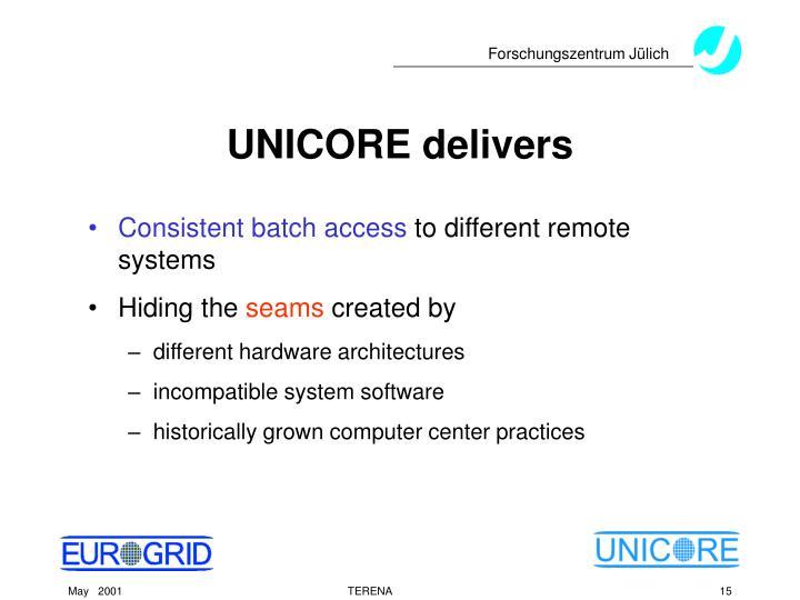 UNICORE delivers